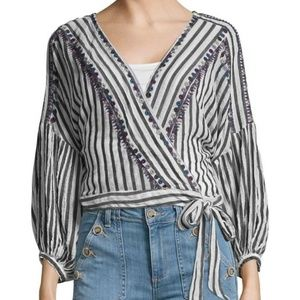 NWT Free People 'Barcelona' striped crop wrap top
